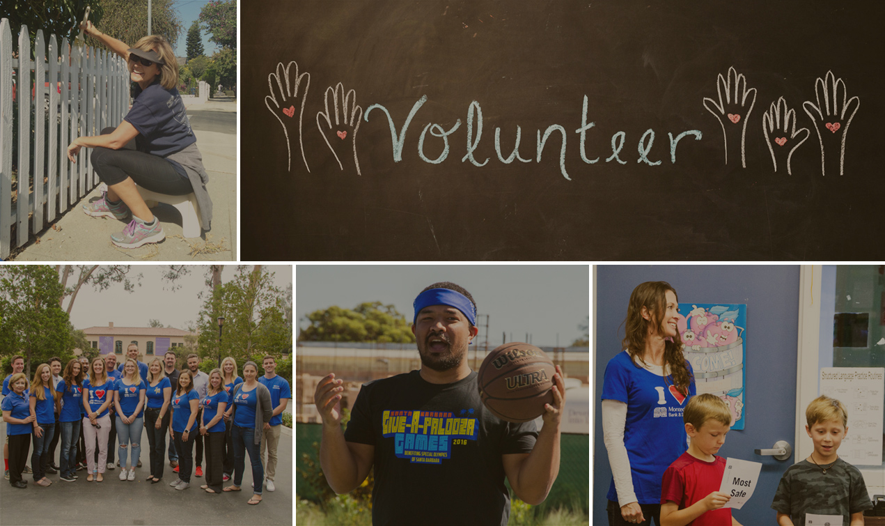 A collage of images showing bank associates volunteering in the community