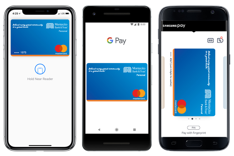 Three phones showing Apple Pay, Samsung Pay, and Google Pay.