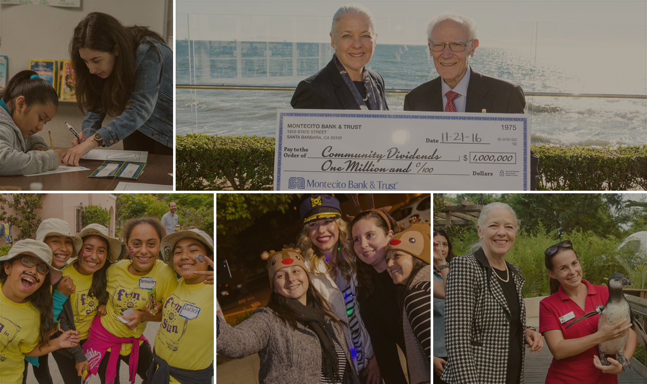 A collage of Montecito Bank and Trust in the community
