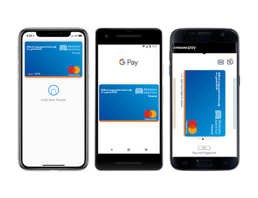 Three phones showing Apple Pay, Samsung Pay and Google Pay.