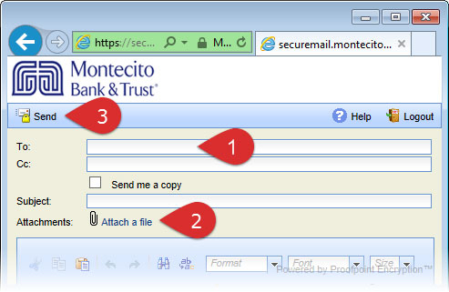 Secure email form with flags pointing to each section: flag 1) To field, flag 2) Attach a file, and flag 3) Send button.